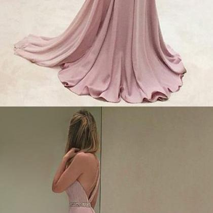 Chic Mermaid Pink Prom Dress Modest..