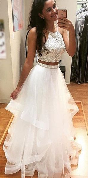 White Two Pieces Sequin Tulle Long Prom Dress ee2820d8d823