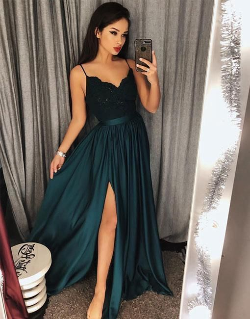 32bdc69b6b9 Charming Dark Green V-Neck Lace Bodice Prom Dress