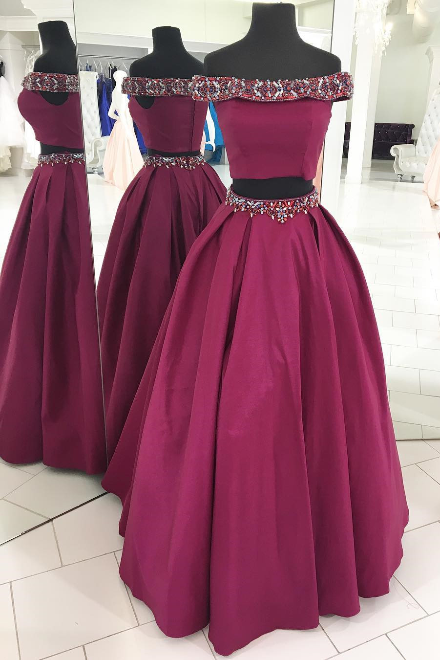 5583838888f0 Off The Shoulder Two Piece Fuchsia Long Prom Dress on Luulla