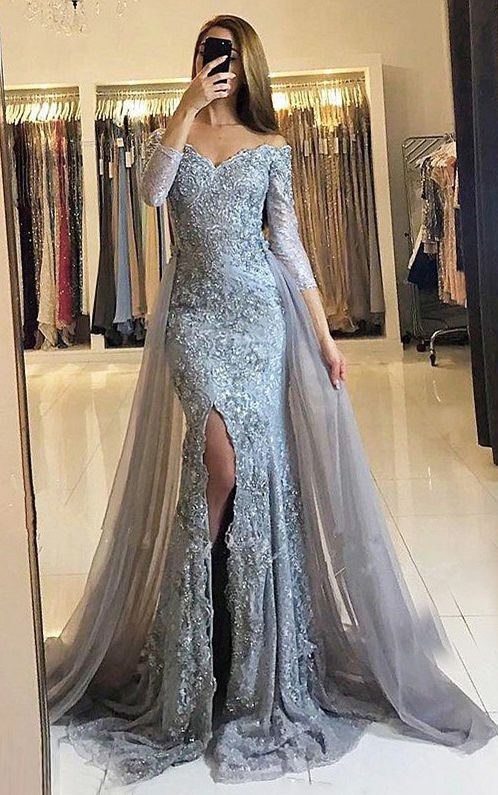 Sheath Prom Dresses,Off-the-Shoulder Prom Dresses,Detachable Train Prom Dresses,Grey Prom Dresses,Tulle Prom Dresses,Beading Prom Dresses,Long Sleeves Prom Dresses