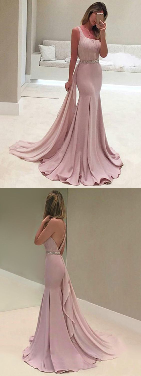 Chic Mermaid Pink Prom Dress Modest Cheap Long Prom Dress,Custom Made, Party Gown,Backless Prom Dress,Simple Prom Dress With Sash