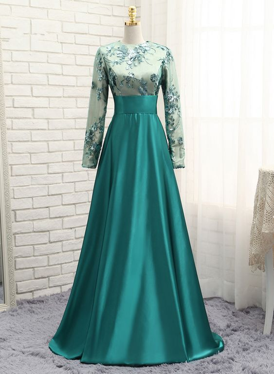 Green muslim evening dresses a line long sleeves satin sequins jpg 563x769 Muslim  party dresses 402a633bcf9d