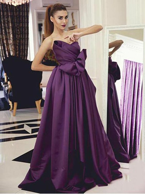 elegant purple ball gowns for prom party, fashion formal evening gowns with ruffles