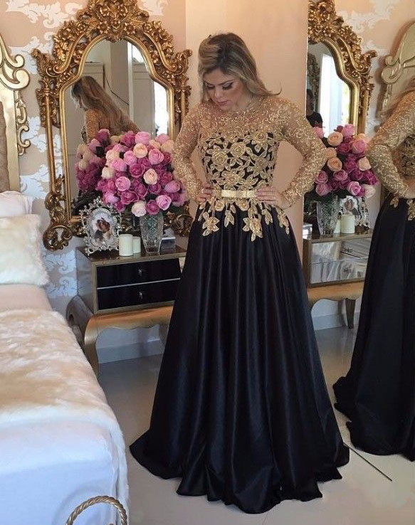 Elegant Long Sleeves Black Prom Dresses Long Evening Dresses With