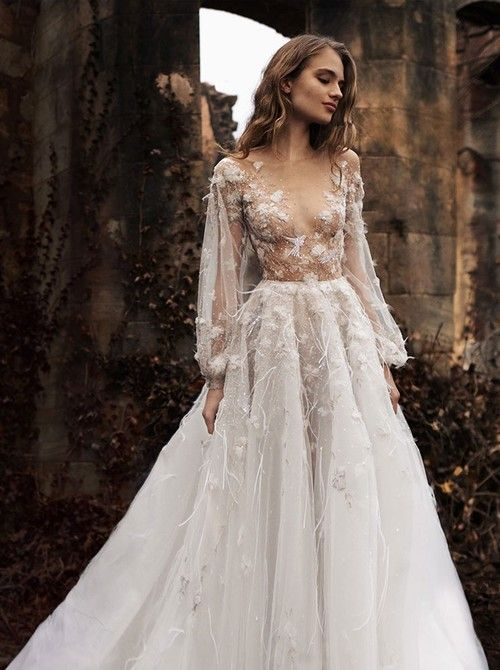 Fitted Wedding Dress Lace Long Sleeves Wedding Evening Dressesprom Dress With Sleevesfront Slit Evening Dress