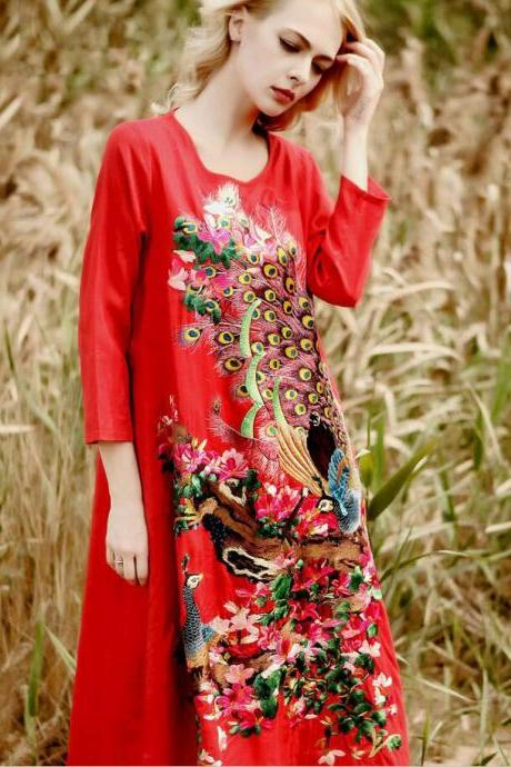 2018 Spring Fall folk new style ,classical folk Chinese embroidery ,linen dress