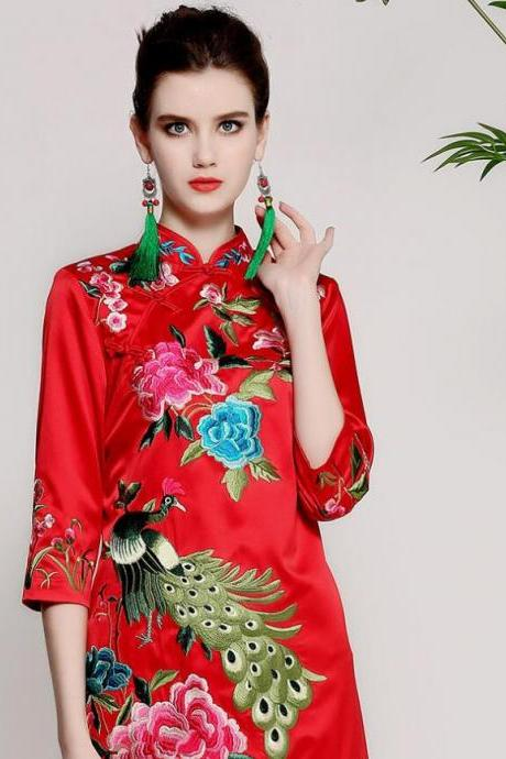Spring and autumn of 2018 new style, original women's wear, Chinese wind heavy work embroidery, big size improvement, temperament dress