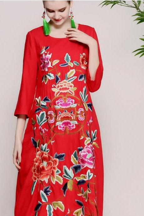 Spring and Summer 2018 new style, original women's wear, Chinese wind heavy work embroidery, loose size, cotton hemp dress