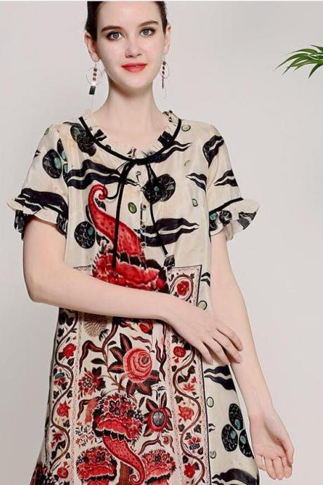 Spring and summer 2018 new style, retro women's wear, national Chinese wind totem printing, large size silk, loose dress