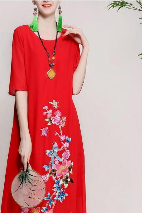 Spring and summer 2018 new style, original women's wear, Chinese wind heavy work embroidery, large size loose thin dress