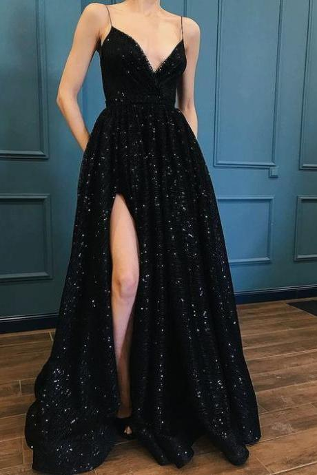Fashion prom dress luxury party dress black evening dress sequins party dress lace prom dress special occasions dresses