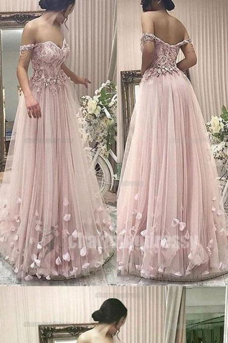 Off Shoulder prom dress Pink party dress Elegant Formal ball gowns Pretty Unique New Arrival Charming Floor-Length Prom Dresses