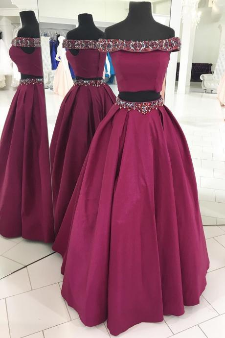 Off the Shoulder Two Piece Fuchsia Long Prom Dress