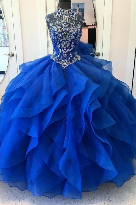 Ball-Gown High-Neck Chapel Train Organza Rhine Stone Prom Dresses