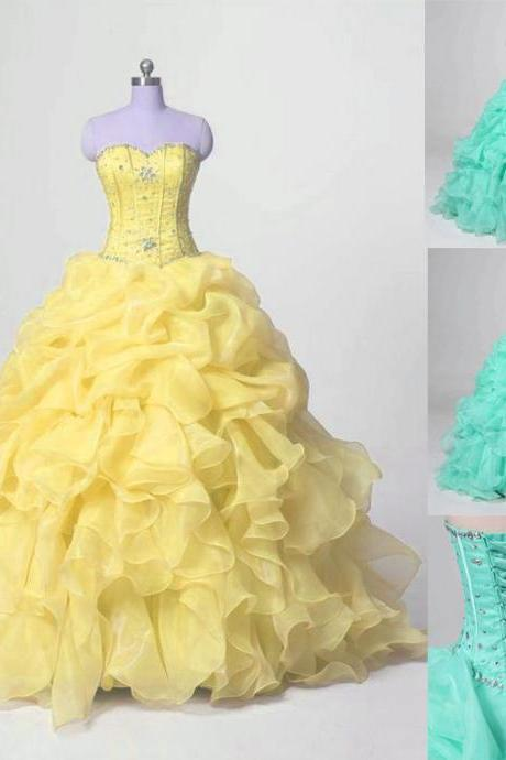 Sweet 16 Quinceanera Dresses Ball Gown Formal Prom Party Wedding Dress Custom,2018 Yellow beaded Prom Dresses, Wedding Ball Gowns Dresses, Women Party Dresses
