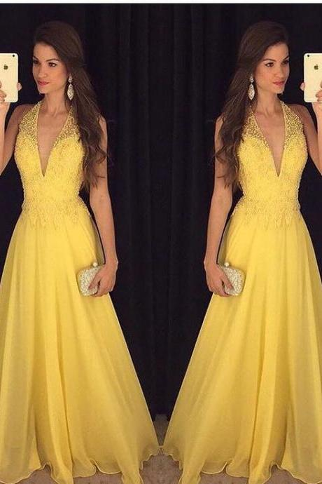 Halter Prom Dress, Yellow Prom Dress, Peals Prom Dress, Sexy Prom Dress, A Line Prom Dress, Tulle Prom Dress, Formal Party Dresses, Backless Prom Dress