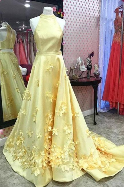 Unique yellow satin long prom dress, yellow evening dress