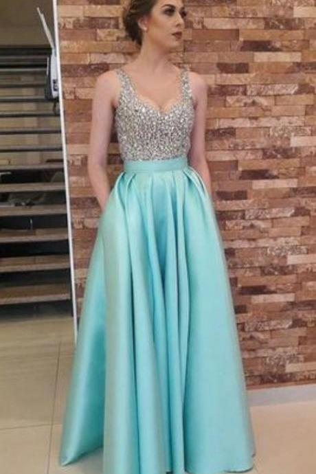 Charming Crystal Beading Prom Dress, Floor Length Long Prom Dresses