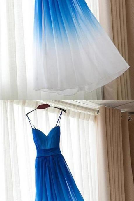Spaghetti Straps Long Prom Dresses,Royal Blue And White evening dress