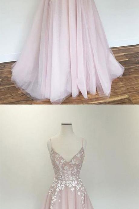 Light pink v neck tulle applique long prom dress, pink evening dress ,Evening Dress,Custom Made,Party Gown