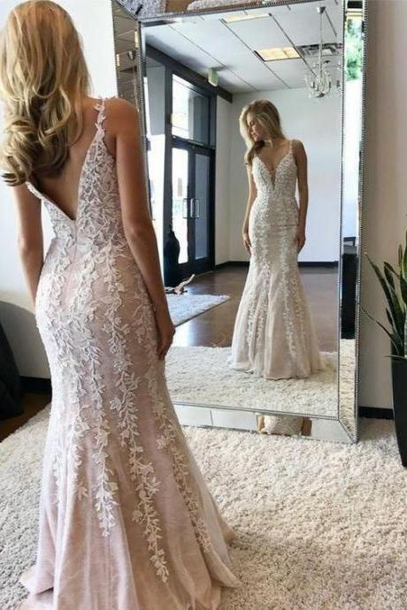 Elegant lace mermaid wedding long prom dress ,Long Evening Dress,Custom Made,,Party Gown
