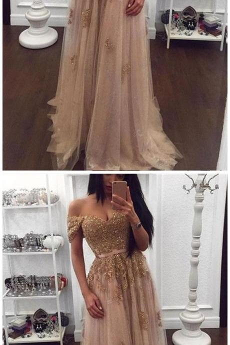2018 A-line Long Prom Dresses Off-the-shoulder Elegant Prom Dresses Evening Dresses , Formal Evening Dress,Custom Made,Party Gown
