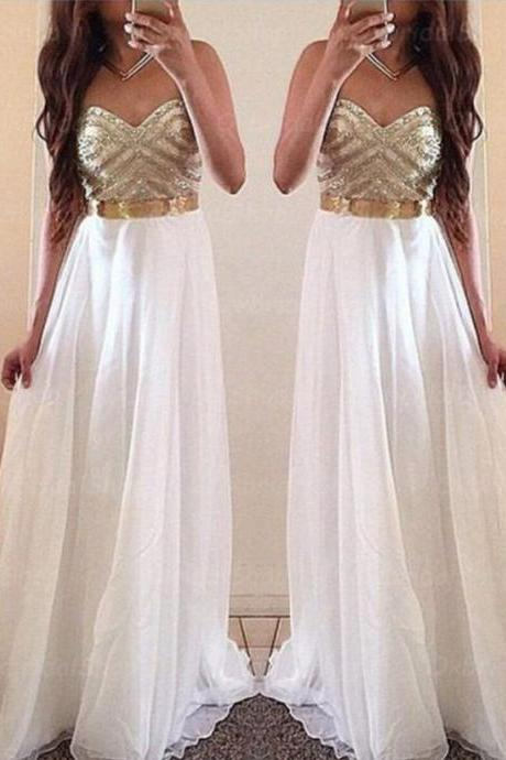White Prom Dresses,Gold Evening Dress,Unique Prom Dresses, Morden Evening Dress,Custom Made,Party Gown