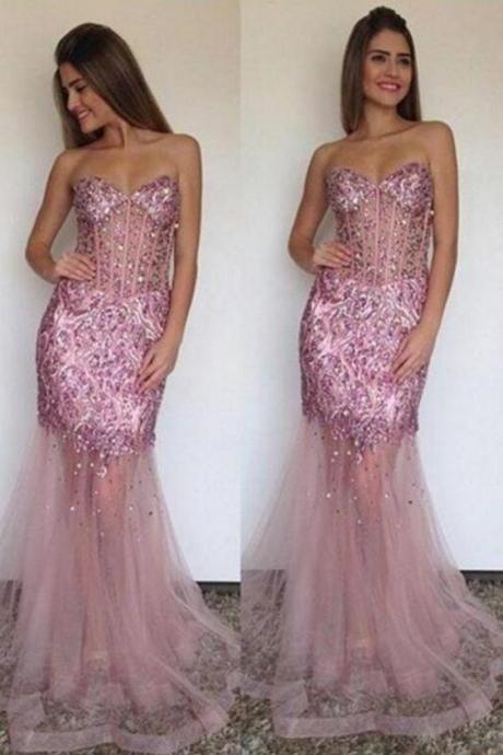 Pink Prom Dresses With Beading, Dresses For Prom, Discount Prom Dresses, Sexy Prom Dresses,Unique Prom Dresses, Morden Evening Dress,Custom Made,Party Gown