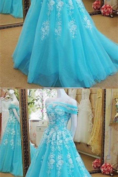 Blue tulle scoop neck long winter formal prom dress, Long beaded evening dresses for teens , Morden Evening Dress,Custom Made,Party Gown