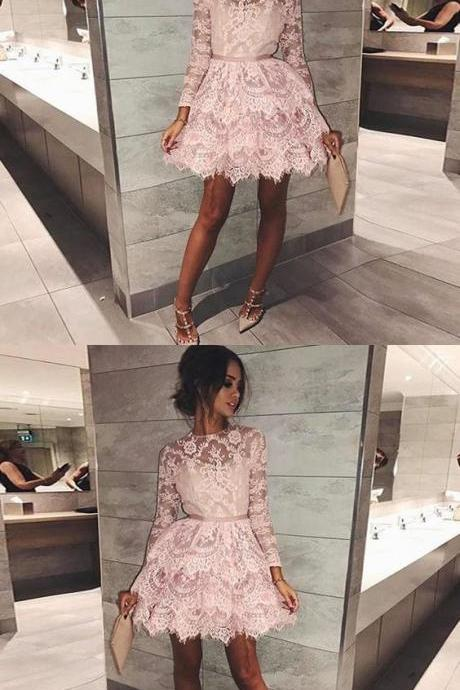 A-Line Round Neck Long Sleeves Short Tiered Pink Lace Homecoming Dress,Custom Made,Party Gown,Evening Dress