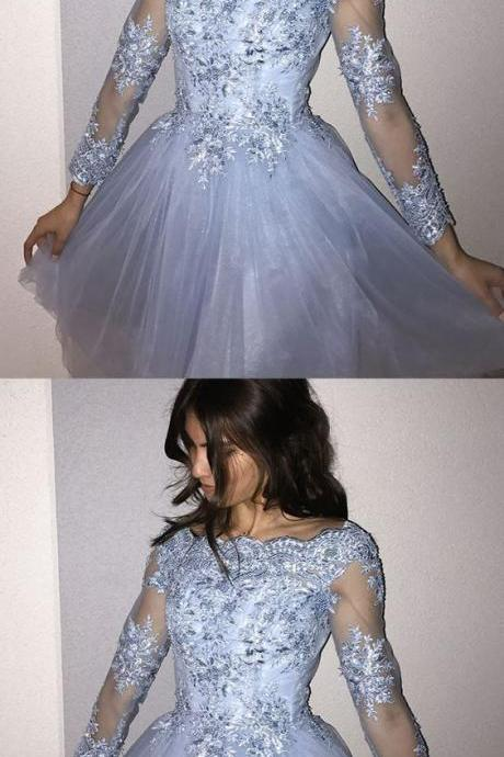 A-Line Off-the-Shoulder Blue Homecoming Dress with Beading Appliques Sleeves,Custom Made,Party Gown,Evening Dress