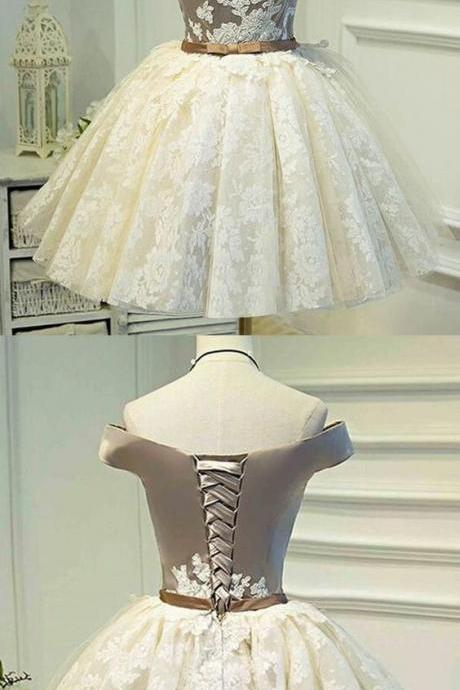 Custom Made Sleeveless Ivory Homecoming Prom Dresses Fetching Short A-line/Princess Bandage Lace Up Dresses,Custom Made,Party Gown,Evening Dress