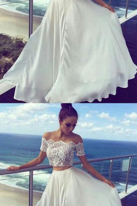 Two Pieces Off The Shoulder Prom Dresses,Long Prom Dresses,Cheap Evening Dress,Custom Made,Party Gown