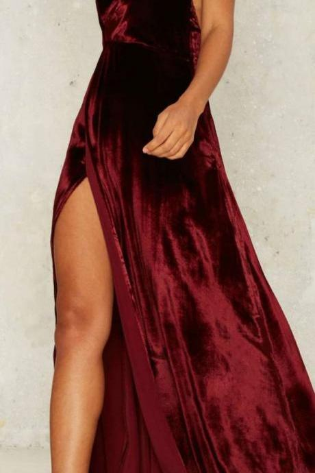 Backless velvet prom dress ,Sexy Prom Dress,Cheap Evening Dress,Custom Made,Party Gown