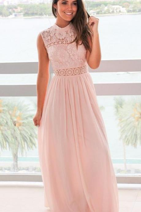 Simple pink chiffon prom dress with pleats, Beautiful a-line long party dress with lace,Cheap Evening Dress,Custom Made,Party Gown