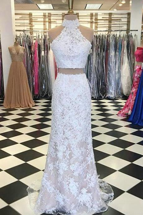 Sexy White Lace Mermaid Evening Dresses Formal Two Pieces Evening Prom Party Gowns,Cheap Evening Dress,Custom Made,Party Gown