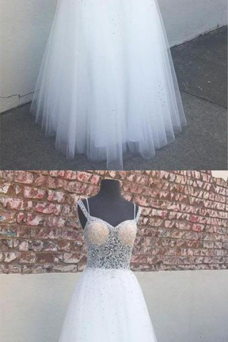 Stylish A-Line Sweetheart White Tulle Long Prom/Evening Dress with Beading, Evening dress,Cheap Evening Dress,Custom Made,Party Gown