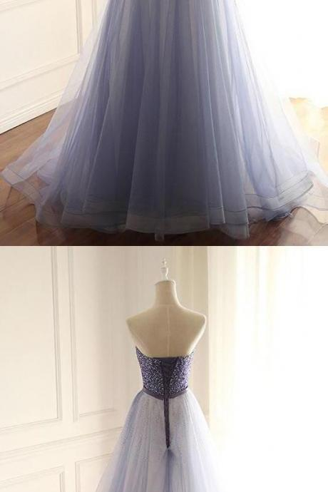 Stylish Prom Dress,A-Line Prom Gown,Strapless Prom Dresses,Tulle Prom Dress,Long Prom Dresses with Beading , Evening dress,Cheap Evening Dress,Custom Made,Party Gown