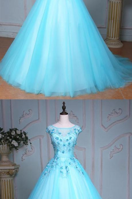 Blue tulle scoop neck long winter formal prom dress, Long beaded evening dresses for teens, Evening dress,Cheap Evening Dress,Custom Made,Party Gown