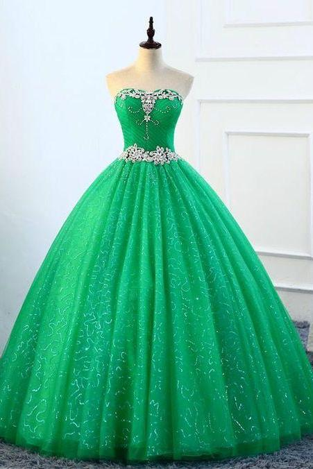 Ball Gown Green Tulle Sweetheart Crystal Quinceanera Dresses,Cheap Evening Dress,Custom Made,Party Gown