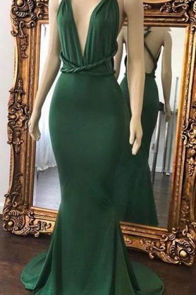 Sexy Green Prom Dresses Halter V-Neck Crisscross Back Mermaid Evening Gowns, Sexy Party Dress, Formal Dress,modest Evening Dress,Custom Made,Party Gown