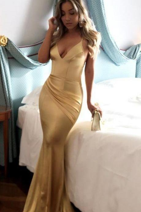 Mermaid Prom Dresses Short Train Spaghetti Straps Long Sexy Gold Prom Dress, Formal Dress,modest Evening Dress,Custom Made,Party Gown