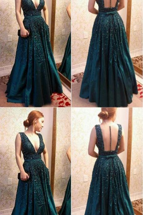 Charming Sexy Prom Dress, Appliques Evening Dress, Formal Evening Dress ,Dark Green Sleeveless Prom Dress, Formal Dress,modest Evening Dress,Custom Made,Party Gown