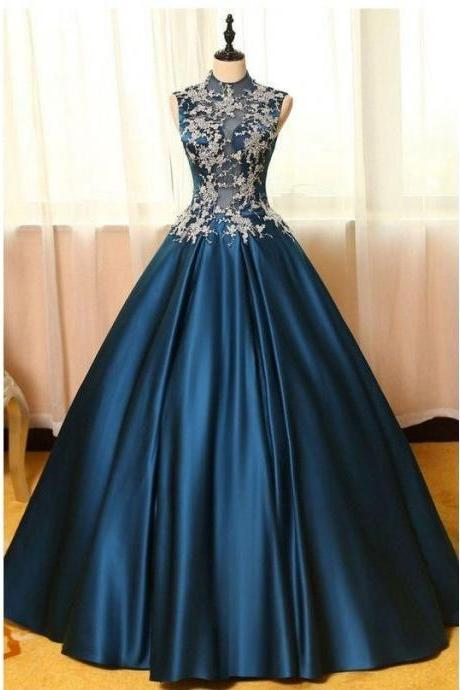 Blue satins lace applique round neck see-through A-line long prom dresses,ball gown dresses ,Custom Made,Party Gown