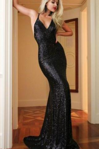 Mermaid V-Neck Sweep Train Criss-Cross Straps Black Sequined Prom Dress,Custom Made,Party Gown,Cheap Evening dress