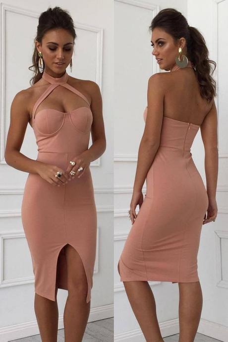 Halter Backless Split Bodycon Dress,Custom Made,Party Gown,Cheap Evening dress