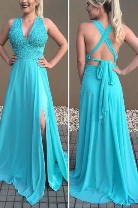 Soft Prom Dresses Sexy, Prom Dresses A-Line, Chiffon Prom Dresses ,Custom Made,Party Gown,Cheap Evening dress