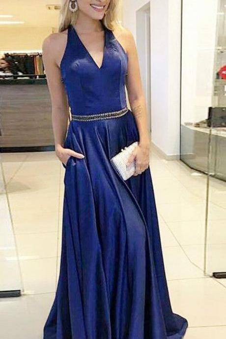 2018, royal blue long prom dress, deep v neck prom dress, graduation dress, Formal Evening Dress, Party Dress,Custom Made,Party Gown,Cheap Evening dress