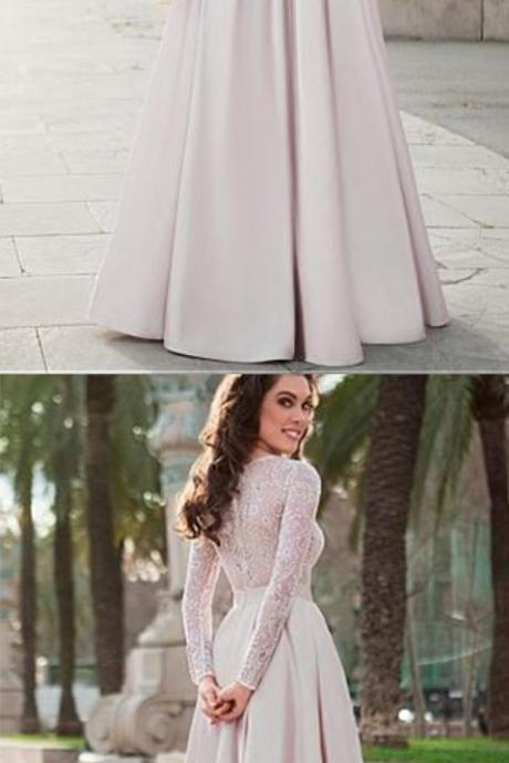 Lace Top Satin Jewel Neckline Long Sleeves A-line Prom Dress Evening Dress,Custom Made,2018 Party Gown, Formal Evening Dress, Party Dress,Custom Made,Party Gown,Cheap Evening dress